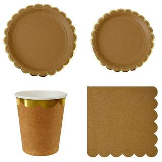 Natural/ Kraft Scallop Edge Party Serveware Package ( 8 X 7″ Small Plates, 8 X 9″ Large Plates, 8 X Cups, 20 X Napkins)