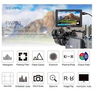 "🚚 FeelWorld FW703 7"" IPS 3G-SDI 4K HDMI On-Camera Field Monitor (Full HD)"