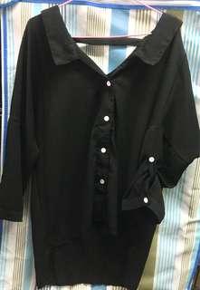 黑色雪紡紗上衣