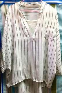 韓國帶回白色雪紡直線上衣(含背心