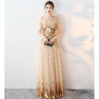 Gown Collection - Elegant Golden Bling Bling Event Gown