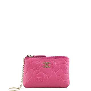 Authentic Chanel Camellia Key Pouch