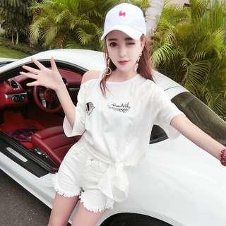 韓版新款露肩刺繡眼睛亮鑽不規則長版上衣短袖T恤