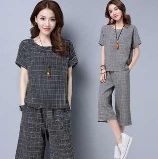 73915 #大碼棉麻格子短袖七分闊腿裤兩件套装   颜色:黑色 灰色  尺码:5XL 4XL 3XL 2XL XL L