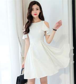 Short-Sleeve: White Spring Flouncing Off Shoulder Dress (S / M / L / XL / 2XL) - OA/MKE010801