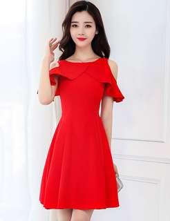 Formal: Red Spring Flouncing Off Shoulder Dress (S / M / L / XL / 2XL) - OA/MKE010801