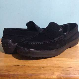 Tod's Black Suede Loafers/ Driving Mocs Shoes