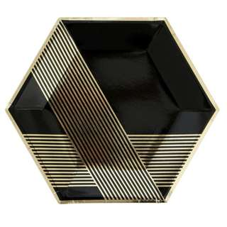 Black Hexagon With Gold Stripes Large Plates 9″ (Set of 8)