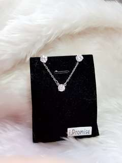 Swarovski elements crystal solitaire necklace earring set