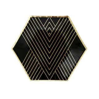 Black Hexagon With Gold Stripes Small Plates 7″ (Set of 8)