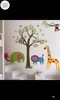 Removable Cartoon Tree Cute Animal Wall Stickers Children's Room Decoration Nursery Background Arrangement Waterproof Stickers Home decor
