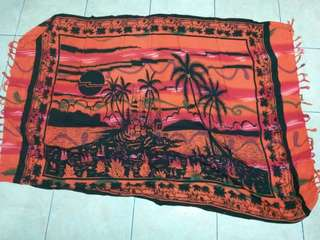 Kain pantai orange cantik motif keren