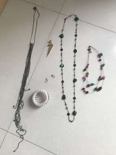 Earnings, necklaces