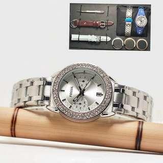 jam tangan fossil paket silver rantai