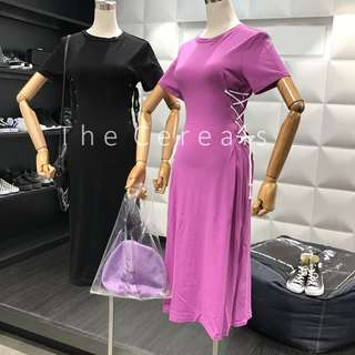TC2197 Korea Drawstring Long Dress (Black,Purple,Grey)