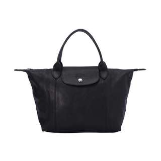Long champ black leather bag