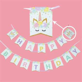 Whimsical Unicorn Happy Birthday Banner