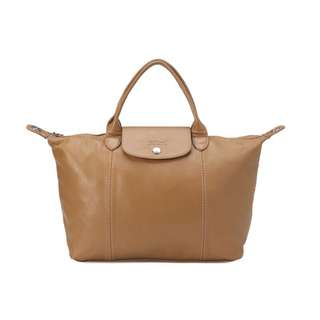 Long champ beige leather bag