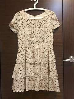 🚚 全新 百貨專櫃 POONE奶油色滿版星星蛋糕裙層次洋裝