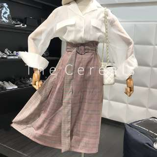 TC2198 Korea 2 Pieces White BF Shirt + Checkers Belted Skirt
