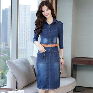 Casual: Quality Shirt Collar Skinny Denim Dress with Belt (S / M / L / XL / 2XL) - OA/YZD122936