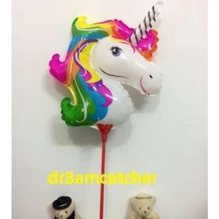 Unicorn balloon with balloon stick