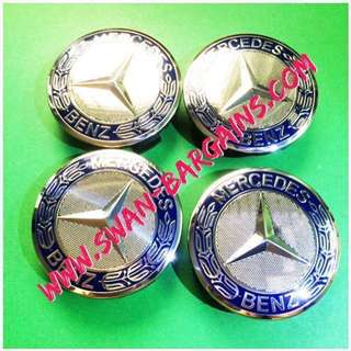 4pcs Mercedes Benz Blue Emblem Logo Laurel Star Badge Sports Wheel Rim Center Hub Cap Cover 75mm For A B C CL CLA CLC CLK CLS E G GL GLS GLA GLC GLE GLK M S SL SLK R Class