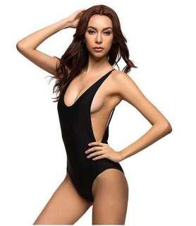 Open back one piece swimsuit