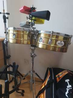"LP Timbale 13&14"" Brass Tito Puente with stand and cowbells"