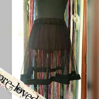 Black mesh skirt w/ garter waistband