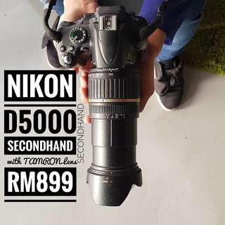 NIKON D5000 with TAMRON LENS (Aspherical LD XR DII / AF 18-200MM 1:3.5-6.3 (IF) MACRO A14) SECONDHAND