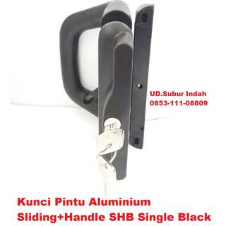 Kunci Pintu Aluminium Sliding+Handle SHB Single Black