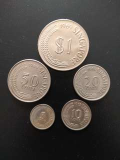 Old Coins - 1969 Singapore old coin set