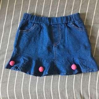 🌈二手女童✨夏季薄款深藍色荷葉裙9號