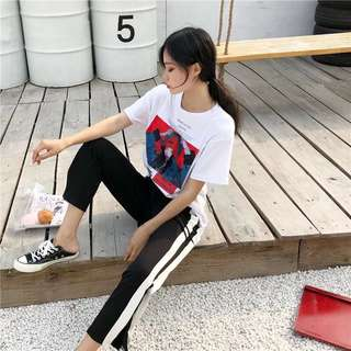 💓[PO] Graphic Tee & Striped Long Pants