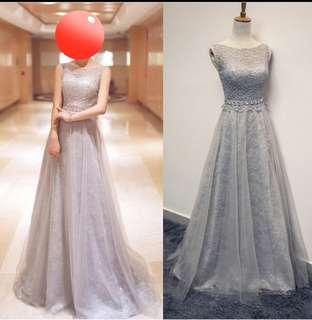 Sleevless floral grey dress / evening dress instock