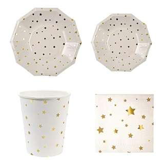 Shiny Gold Stars Party Serveware Package ( 8 X 7″ Small Plates, 8 X 9″ Large Plates, 8 X Cups, 20 X Napkins)