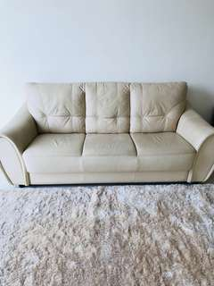 3 Seater Leather Sofa - Couch / Cream color
