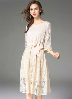 Casual: Apricot Tying Waist Hollow Out Flare Sleeve Lace Dress (M / L / XL / 2XL) - OA/HHD090604