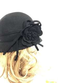 100% wool cloche hat with flower