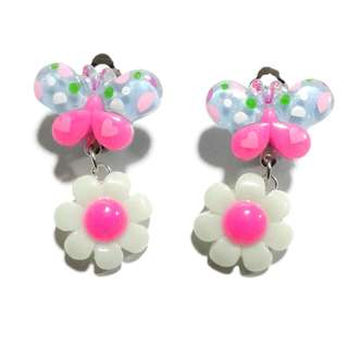 Handmade Korean Style Butterfly  Flower Dropping Resin Pain Relief Safety Earring Clip For Kids