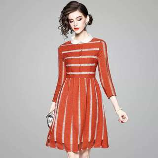 Striped hollow out dress