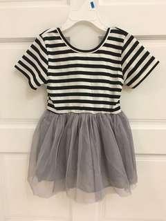 純棉條紋灰紗裙洋裝