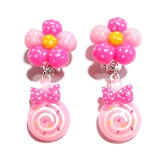 Handmade Korean Style Flower Lollipop Dropping Resin Pain Relief Safety Earring Clip For Kids