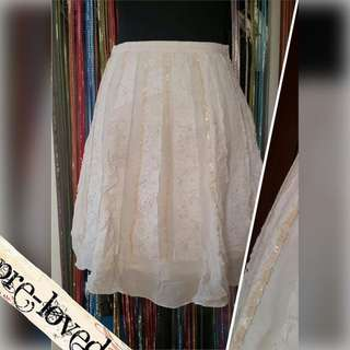 Cream muslin skirt w/ lace & sequin details