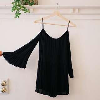 Zara Off-Shoulder Bell-sleeve Black Jumpsuit Romper