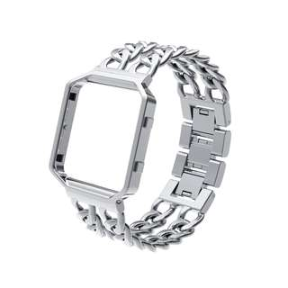 For Fitbit Blaze Band, Wearlizer Lux Replacement Chain Metal Bands with Shiny Metal Frame for Fitbit Blaze, Silver  -- 755