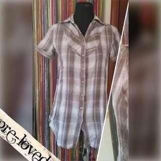 Gray & white plaid polo blouse