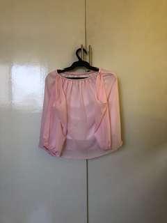 Baby Pink Off Shoulder Top