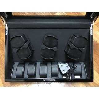 High-end MABUCHI Motor 6+6 Watch Winder (Polished Black Wood)